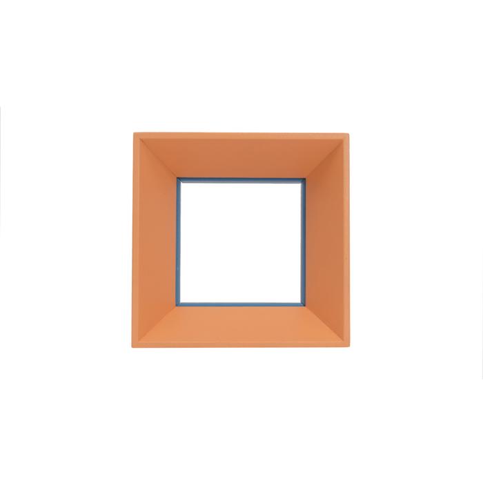 Cornice quadrata, arancio/azzurro